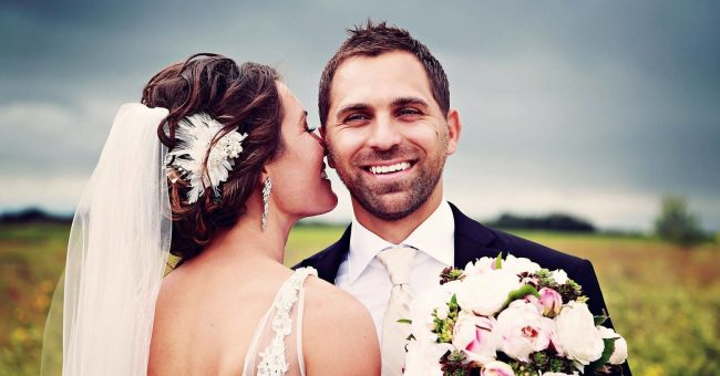 Smile to your Partner in wedding photo