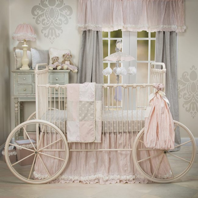 luxury baby crib skirt